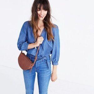 NEW Madewell Denim Wrap Top Size XXS Style # G7461